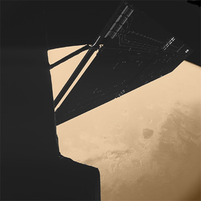 Philae lander looks at Rosetta and Mars