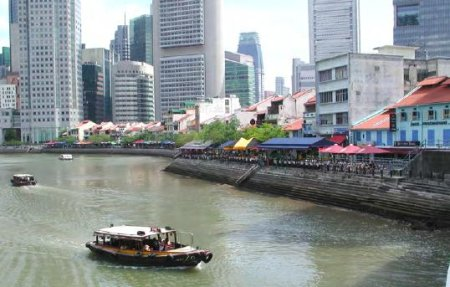 Riverwalk district of Singapore