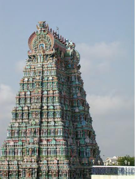 Image : A polychrome tower in Shri Meenakshi-Sundareshwarar Temple.