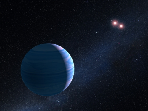 Circumbinary Planet Found in Microlensing Data