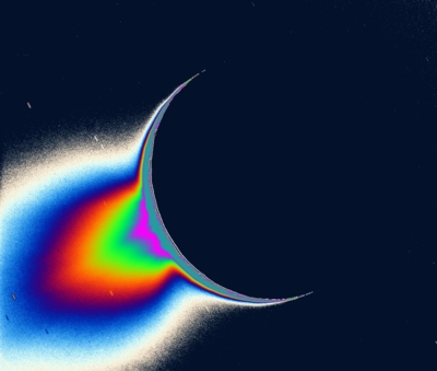 Enceladus geysers in false color