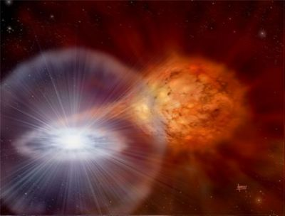 Explosion in a binary system