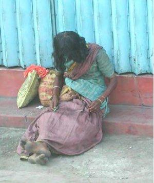 Beggar woman in Madurai