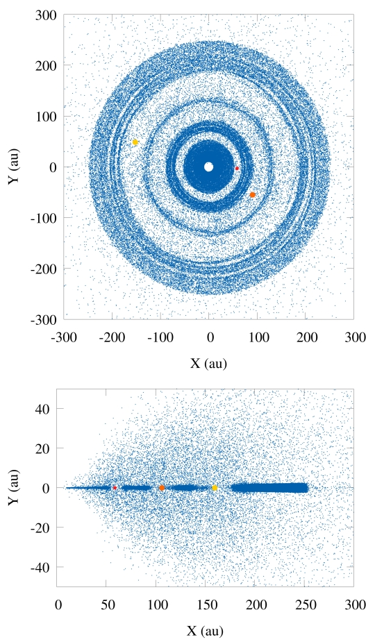 4c81673609 Image  The disk of icy planetesimals hidden in HD 163296 s circumstellar  disk seen from above and the side. The young giant planets rapidly create a  large ...